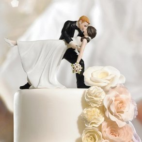 A Romantic Dip Dancing Bride & Groom Cake Topper