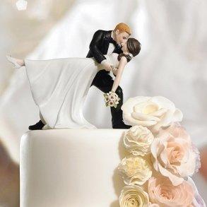A Romantic Dip Dancing Bride & Groom Cake Topper