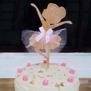 Ballerina Glitter Cake Topper With Tutu Skirt