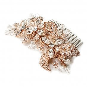 Rose Gold Abstract Floral Bridal Comb