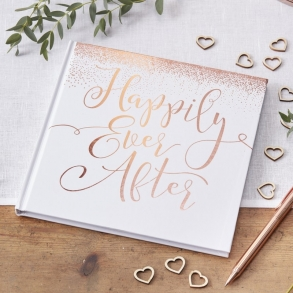 White & Rose Gold Happily Ever After Guest Book