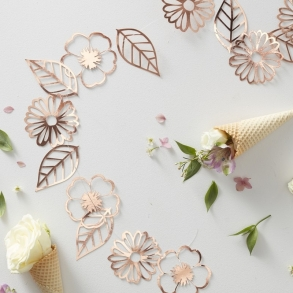 Buy wedding ceremony reception decorations online how divine rose gold foil floral paper garland junglespirit Choice Image