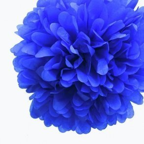 Royal Blue Mini Tissue Paper Pom Poms - Pack of 8