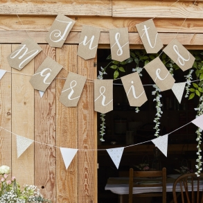 Just Married Hessian Burlap Rustic Bunting