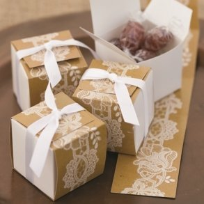 Rustic Lace Wrap Favour Boxes
