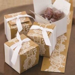 Rustic Lace Wrap Favour Boxes