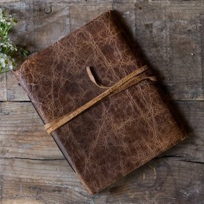 Rustic Leather Bound Journal Style Guest Book