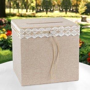 Rustic Romance Burlap Wedding Card Box - Wishing Well