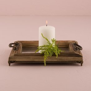 Rustic Decorative Wood Tray With Ornamental Handles