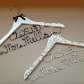 Set of 2 Mr & Mrs Personalised Wedding Coat Hangers