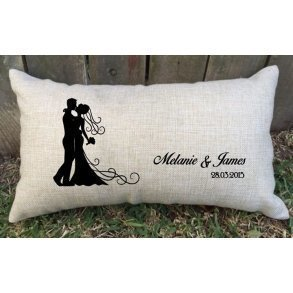 Personalised Silhouette Bride & Groom Wedding Cushion