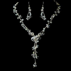 Silver AB Twisted Necklace Set