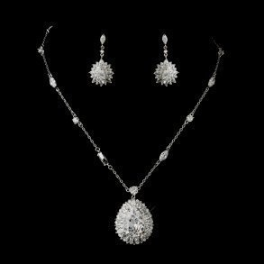 Silver Clear CZ Flower Necklace & Earring Set