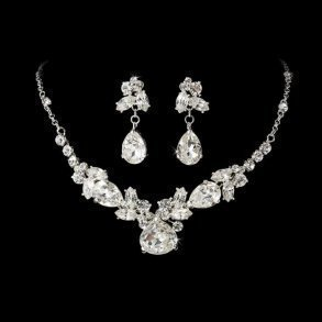 Silver Crystal Bridal Set