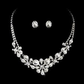 Silver Crystal Floral Jewellery Set