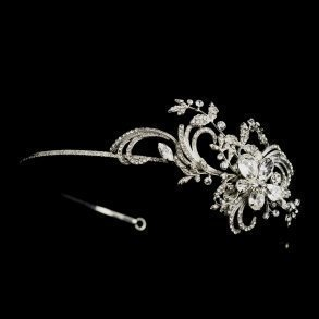 Silver Flourish Crystal Side Accented Headband