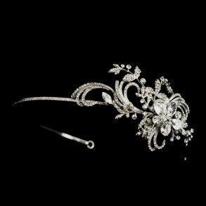 Silver Flourish Crystal Side Accented Headband