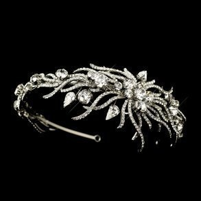 Silver Multi Cut Rhinestone Spiral Headpiece