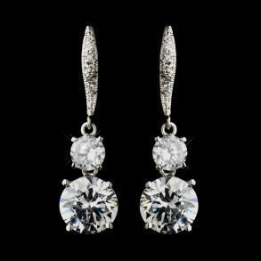 Silver CZ Dazzling Bridal Earrings