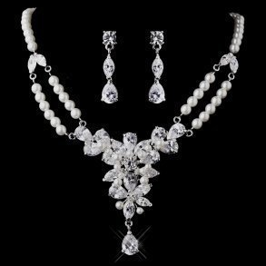 Silver CZ & Pearl Drop Necklace & Earrings Set