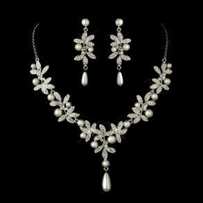 Antique Silver Diamond & Pearl Accent Jewellery Set