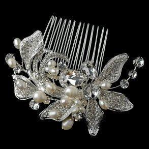 Silver Floral Freshwater Pearl & Rhinestone Bridal Comb
