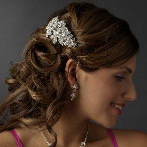 Silver Flower Wedding Hair Barrette Clip