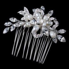 Silver Freshwater Pearl & Rhinestone Ribbon Leaf Comb