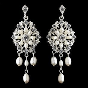 Silver Ivory Freshwater Pearl Chandelier Bridal Earrings