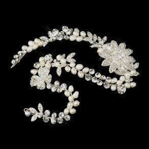 Silver & Ivory Pearl Bridal Headpiece