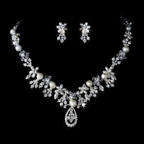 Silver Pearl & Crystal Bridal Jewellery Necklace Set