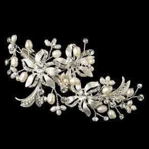 Silver Plated Floral Bridal Hair Clip With Freshwater Pealrs