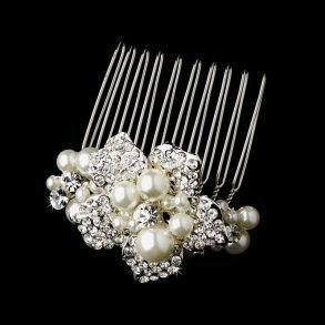 Silver Plated Floral Comb