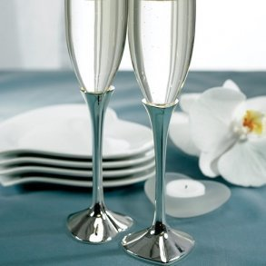 Silver Plated Heart Stem Glass Flutes