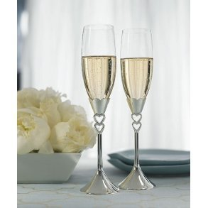 Silver Plated Open Heart Stem Goblets