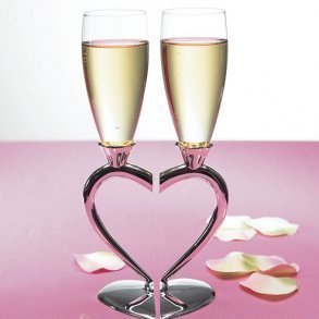 Silver Plated Interlocking Heart Glass Flutes