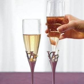 Silver Plated LOVE Stem Glass Flutes