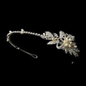 Silver Rhinestone Floral Side Accented Wedding Headband
