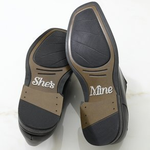 Silver Glitter She's Mine Shoe Stickers