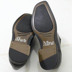 Silver Glitter She's Mine Shoe Stickers