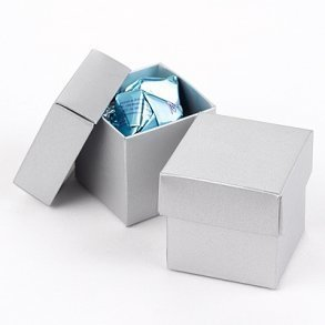 Silver Shimmer Wedding Favour Bomboniere Boxes