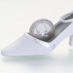 Silver Sixpence In Bridal Shoe Holder