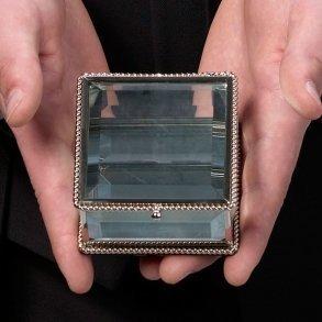 Square Silver Glass Ring Box Alternative