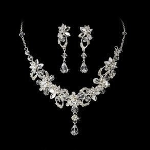 Silver Swarovski Necklace Set