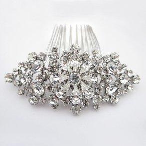 Silver Vintage Floral Hair Comb