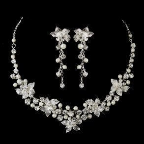 Silver & White Pearl Bridal Jewellery Set