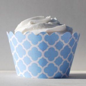 Sky Blue Spanish Tile Cupcake Wrappers - Pack of 12