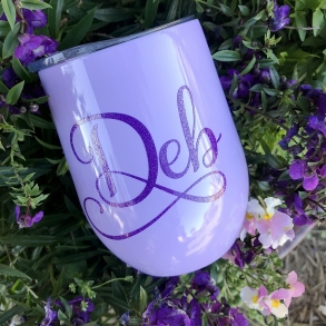 Lavender Personalised Insulated Wine Tumbler Cup 12oz