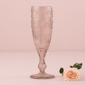 Vintage Inspired Pressed Glass Flute in Smokey Grey