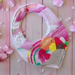 Somewhere Over The Rainbow Handmade Baby Girls Bib